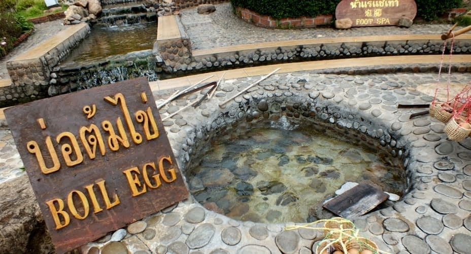 boiling eggs in chiang rai hot spring