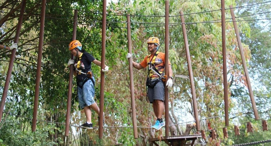 rope bridge at phoenix adventure park chiang mai